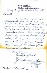 Dickens letter to Sidebotham 1865
